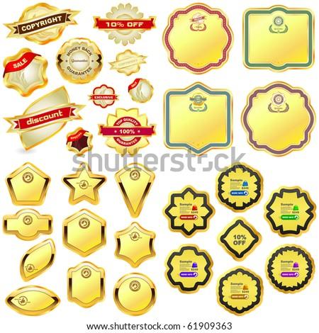 Vector design frames. Gold collection.