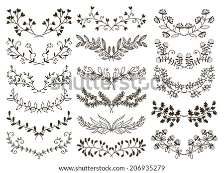 vector design hand drawn floral graphic elements