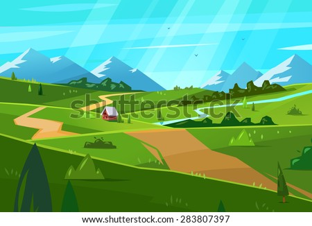 Vector design illustration for web design development, natural landscape graphics.