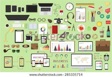 Vector design illustration of business office and workspace