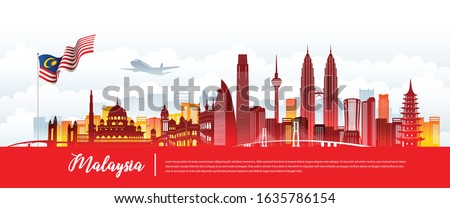 Vector design Ilustration of city of Malaysia landmark, Kuala Lumpur and flag. Malaysia Travel concept. Foto stock ©
