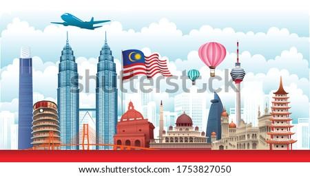 Vector design Ilustration of city of Malaysia landmark, Kuala Lumpur and flag. Malaysia Travel concept. Photo stock ©