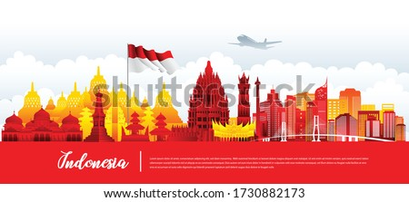 Vector design Ilustration of Indonesia landmark and flag. Indonesia garden theme and travel concept. Stock fotó ©
