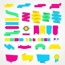 Vector design labels set. Elements labels ribbons arrows vintage. Template kit labels design.