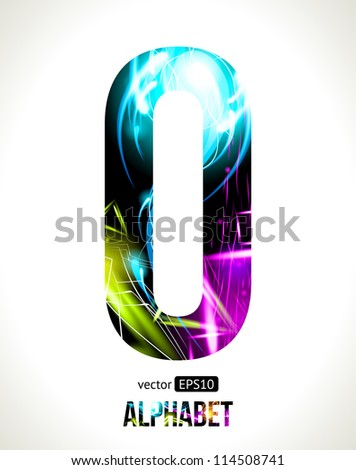 Vector design light effect alphabet. Easy customizable.  Letter O.