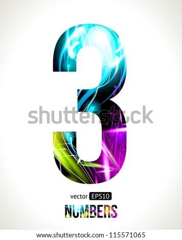 Vector design light effect alphabet. Easy customizable. Number 3. - stock vector