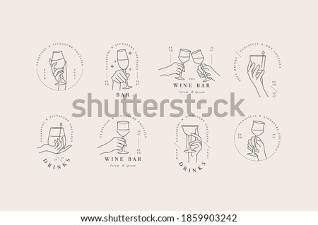 Vector design linear template logos or emblems - hands in different gestures glass of drink. Abstract symbol for cafe or bar