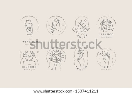 Vector design linear template logos or emblems - hands in in different gestures. Abstract symbol for cosmetics and packaging or beauty products