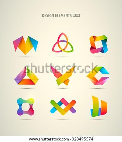 Vector design logo elements big set. Corporate identity icons