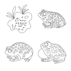 Vector design of amphibian and animal sign. Set of amphibian and nature vector icon for stock.