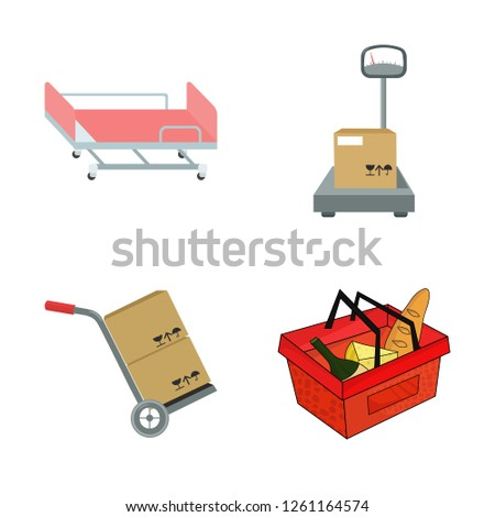 Vector design of basket and wicker logo. Collection of basket and market stock vector illustration.