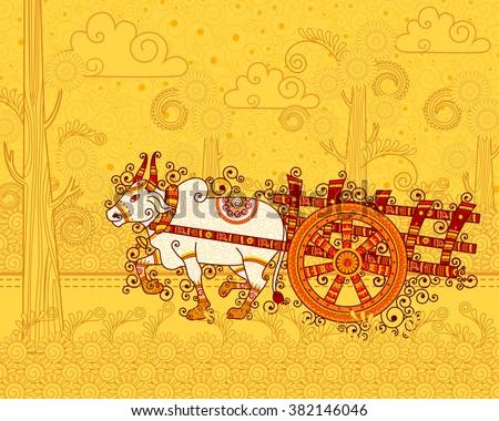 Vector design of bullock cart in Indian art style