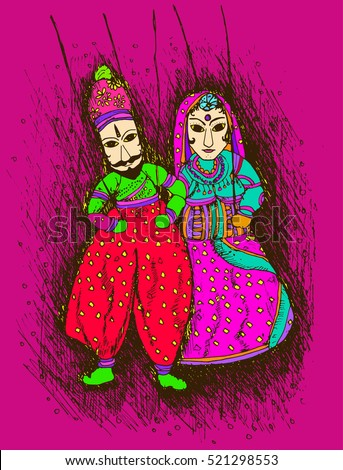 Vector design of colorful Rajasthani Puppet