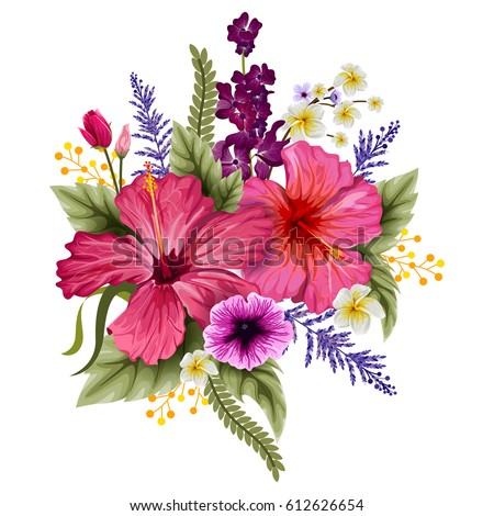 Vector design of colorful vintage flower bouquet for invitation and greeting card design
