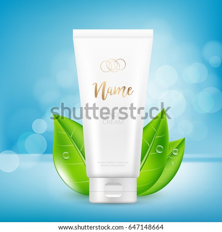 Vector design of cosmetic package advertising template for hand or face cream. Mock up tube on blue background with bokeh.