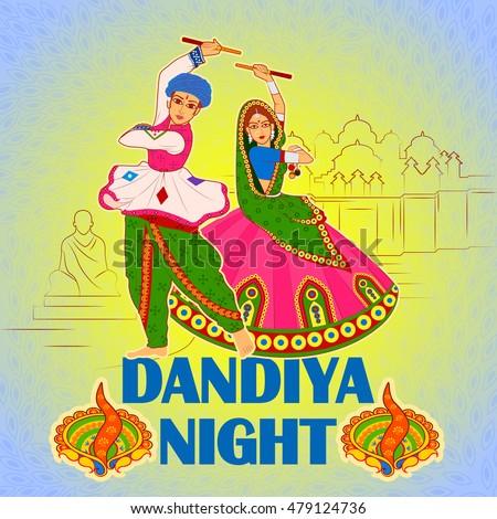 Vector design of couple playing Garba in Dandiya Night Navratri Dussehra festival