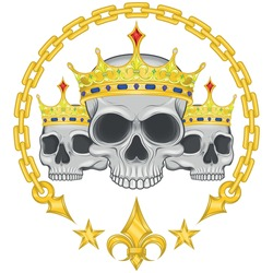 Vector design of crowned skulls, with chains and golden fleur de lis, for t-shirts