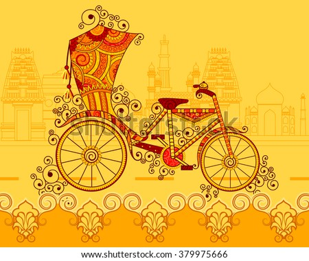 vector design of cycle rickshaw ...
