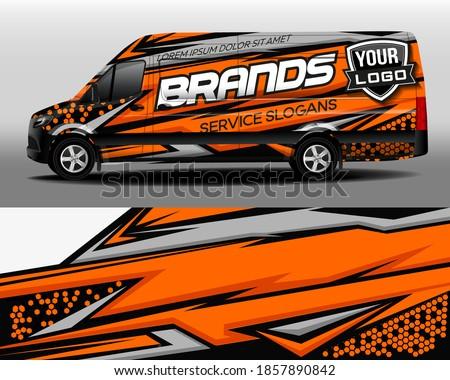 Vector design of delivery van. Car sticker. Car design development for the company. Black with orange background for car vinyl sticker