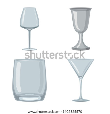 Vector design of dishes and container icon. Collection of dishes and glassware stock vector illustration.