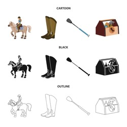 Vector design of equipment and riding symbol. Set of equipment and competition vector icon for stock.