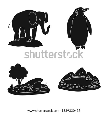 Vector design of fauna and entertainment logo. Set of fauna and park vector icon for stock.
