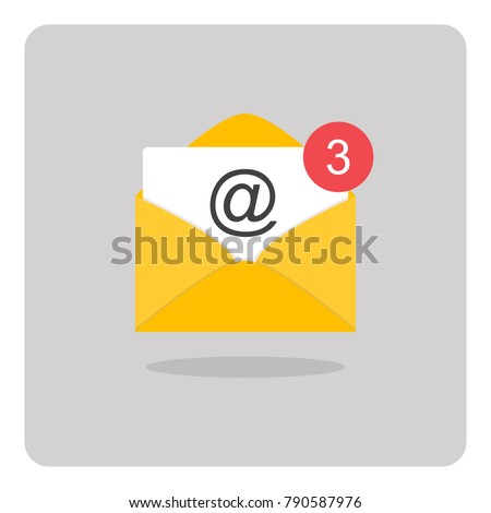 Vector design of flat icon, Mail or E-mail on isolated background