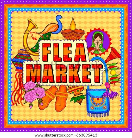 Vector design of Flea Market background in Indian Truck Art style