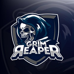 Vector design of grim reaper head with shield for logo design, e-sport design, emblem, embroidery, and print in a dark background