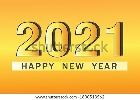 Vector Design of Happy New Year concept banner on yellow background.