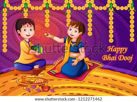 Vector design of Indian kids celebrating Happy Bhai Dooj on colorful art style background of India