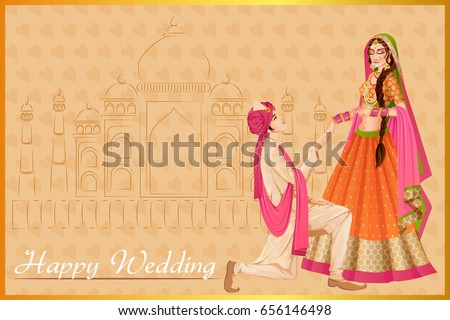 Vector design of Indian man proposing woman in wedding ceremony of India