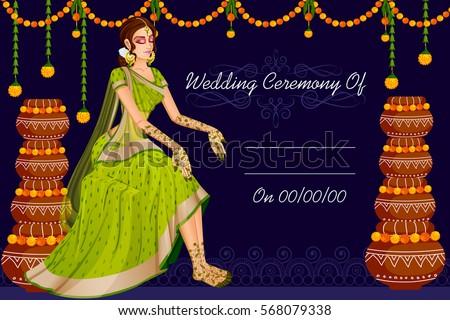 Vector design of Indian woman bride in wedding Mehandi ceremony of India Stock photo ©