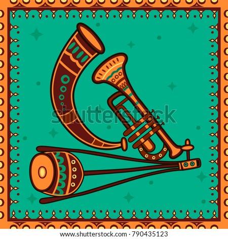Vector design of Keyboard Music instrument in India desi folk art style