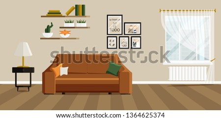 Vector Design of Living Room with Fashionable Furniture. Vector illustration in Flat Style. Design of Modern Interior of Living Room. Phrase in Spanish in Illustration means that family is everything