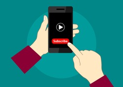 vector design of mobile phone video promotion subscribe account