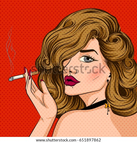 Vector design of Pop art style retro lady smoking cigarette