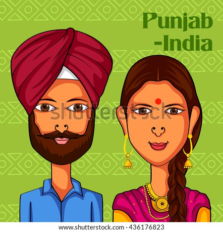 vector design of punjabi couple