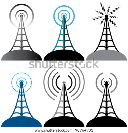 vector design of radio tower symbols