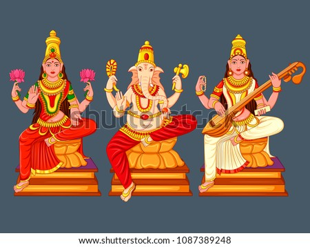 Vector design of statue of Indian God Lakshmi Ganesha  and Saraswati sculpture engraved on stone