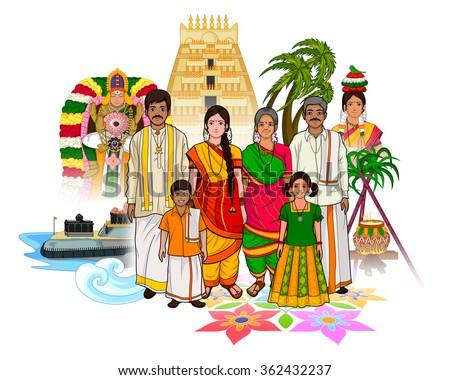 Vector design of Tamil family showing culture of Tamil Nadu, India Zdjęcia stock ©