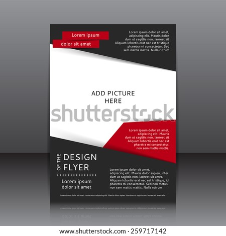 Vector design of the black flyer whit red elements and place for pictures. Poster template for your business.