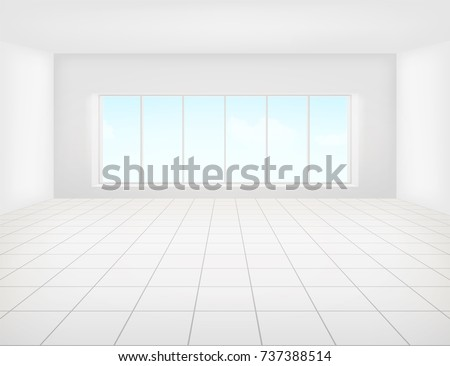 Vector design of tile floor with grid line and light from window in perspective view for background.