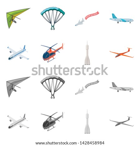 Vector design of transport and object logo. Set of transport and gliding vector icon for stock.