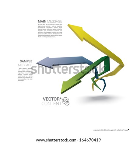 Vector design. Pastel edition of  scalable eps10 illustration of a geometric abstract levitating arrow composition in 3d space for destinations & infographics & web site & brochure or menu navigation