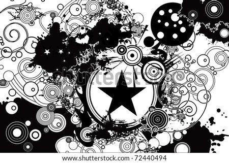 stock vector : vector design pattern with stars, tree, sun, blobs and ...