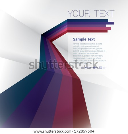 Vector design. Purple color scale edition of an abstract geometric background with trendy retro stripes & the sense of 3d with menu and text field as a layout for a brochure or web, for universal use