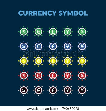 Vector design set of currency icons and symbols with colour alert