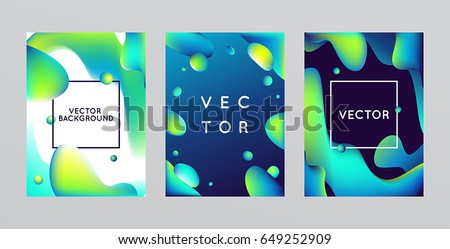 Vector design template and illustration in trendy bright gradient colors with abstract fluid shapes, paint splashes, ink drops and copy space for text - futuristic posters, banners and cover designs