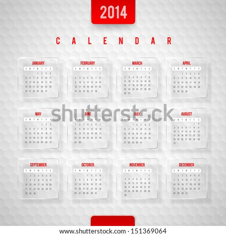 Vector design template Calendar of 2014